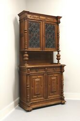Antique Circa 1900 Jacobean Carved Oak Step Back Cupboard W/ Stained Glass Doors