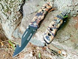 CAMO SPRING ASSISTED POCKET KNIFE BLACK BLADE EDC Gut Hook Fishing Camping 👀