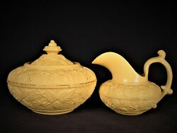 Extremely Rare C1840 Raised Relief Sugar Bowl And Creamer Set Yellow Ware Mint