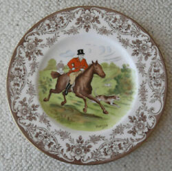 Wedgwood Brown Transferware Plate With Hand Colored Full Cry Fox Hunt Scene