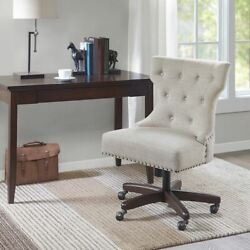 Modern Upholstered Cream Armless High Back Office Chair W/swivel Base And Wheels