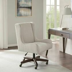 Modern Upholstered Cream Wing Back Office Chair W/swivel Base And Wheels