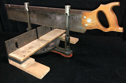 Vintage Antique Stanley Adjustable Miter Box And Saw No. 2246. Missing Rollers