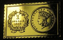 1856 United States Indian Head One Dollar Numistamp Medal Mort Reed