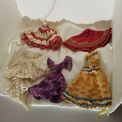 5 Vintage 1940's Crochet Doll Dresses And Skirt For Storybook Type Display Dolls