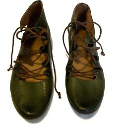 Coque Terra Anthropologie Brown Lace Up Green Shoes CUTE Size 6? $33.99