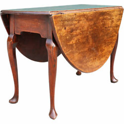 Antique English Queen Anne Style Mahogany Oval Drop-leaf Gateleg Table C. 1770