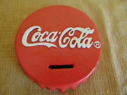 Coca Cola Bottle Cap Coin Bank Paperweight Soda Pop Coke Cast Iron Usa Red