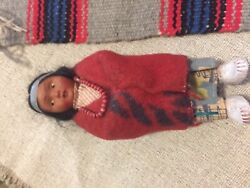 Skookums Native American Indian Early Souvenir Girl Doll Colorful 7 Inch Marked