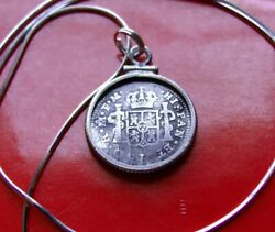 1793 Spanish Colonial Silver Half Reale Sterling Pendant 20 Italian Snake Chain