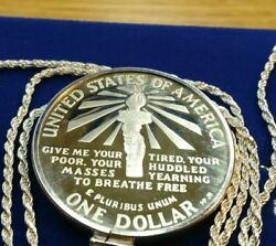 1986 Statue Of Liberty Silver Dollar Pendant On A 28 Italy 925 Silver Chain.