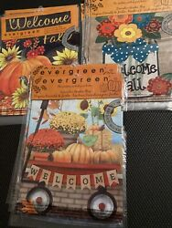 Fall Themed Garden Flags Lot Of 18 Evergreen Double Sided