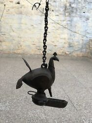 1800s South Indian Antique Hand Crafted Brass Oil Lamp Calls Hamsa/peocock