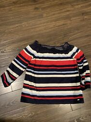 Tommy Hilfiger Womens Striped 3 4 Sleeve T Shirt Top NWT Size XS $12.50