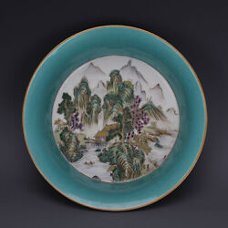 Antique Chinese Qing Yellow Famille Rose Gilt Porcelain Plate