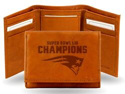 New England Patriots Super Bowl Liii Champions Leather Trifold Wallet Brown