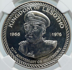 1976 Lesotho In Africa 10y Independence Vintage Silver 10 Maloti Coin Ngc I86009