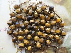 Scarce 1930s Antique And039gold-platedand039 Tiger-eye Gemstone Beads Rosary-st Anne Medal