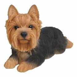 NEW Yorkshire Terrier Lying Down Small Figurine Life Like Statue Home Garden