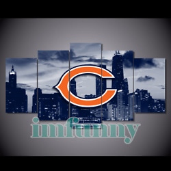 5pcs Chicago Bears City Canvas Picture Print Painting Wall Art Fan Home Decor
