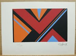 Etex Signed And Numbered Serigraph Abstract Geometric 63/200 1970and039s 7andtimes10