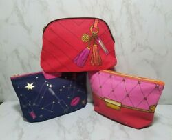 60 x ESTEE LAUDER ASSORTED BLUE RED PINK MAKEUP COSMETIC TRAVEL BAGS 9*6*2 INC $46.99