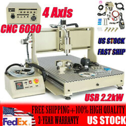 4 Axis Cnc 6090 Usb 2.2kw Spindle Motor Vfd Milling Engraving Machine 110v New