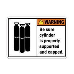 Horizontal Metal Sign Multiple Sizes Sure Cylinder Properly Supported Flammable