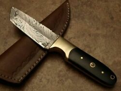 Custom Hand Made Damascus Unique Best Quality Tanto Knife With Leather Sheath