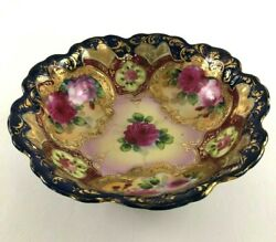 Antique Ornately Decorated Porcelain Bowl Japan 19th Century Blue Pink Yellow
