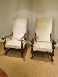 Jacobean Carved Host Chairs - A Pair