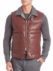 Nwt Brunello Cucinelli Burgundy Leather Cashmere Coat Jacket Vest Medium 4k