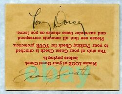 Rare Signed Frank Sinatra + Tommy Dorsey Nightclub Table Card And03940-42 Autograph