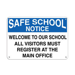 Horizontal Metal Sign Multiple Sizes Notice Welcome Visitors Register Office