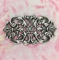 Antique Silver Floral Cartouche Plaque Filigree Stamping Oxidized C-806