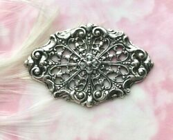 Antique Silver Floral Filigree Web Stamping Jewelry Flower Finding Ca-3071