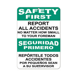Vertical Metal Sign Multiple Sizes Safety Report All Accidents Foreman Hazard