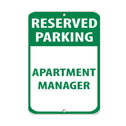 Aluminum Vertical Metal Sign Multiple Sizes Reserved Parking Apartment Manager
