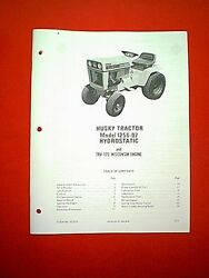 Bolens Husky Hydro Tractor Model 1256-07 With Wisconsin Engine Owner's Manual