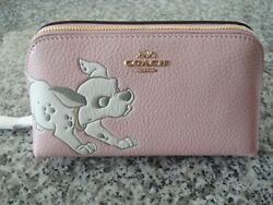 Disney X Coach Cosmetic Case 17 with Dalmatian 91785 Blossom Pink $78.00