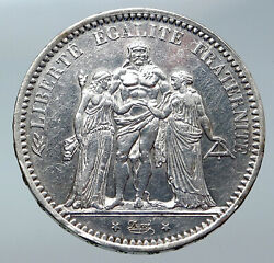 1873 A France Hercules Group Antique Vintage Silver 5 Franc French Coin I85961
