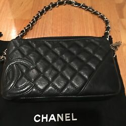 Authentic Black Lambskin Quilted Leather Silver Tone Metal Small Handbagandnbsp
