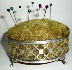 Antique English Sterling Silver Pin Cushion X