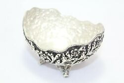 Handmade Dish Bowl Oxidized 925 Sterling Solid Silver India Hand Engraved E
