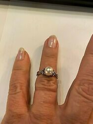 Vintage 7 Mm South Sea Pearl Platinum Ring With Rubies