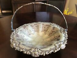 Antique Etched Silver Plated Wedding Fruit Footed Basket W/swing Handle