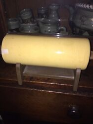 Aafa Early Yellow Ware Rolling Pin W/wooden Stand And Handles, 1800's