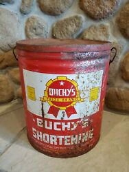 Vintage Buchy's Shortening 50 Pound Tin/bucket With Lid 14-1/2 Tall
