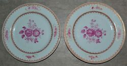 Pair Antique 18th/19th C Chinese Export Famille Rose Plates Puce Gilt Highlights