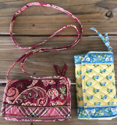 Vera Bradley Crossbody Wallet Purse Retired Piccadilly Plum amp; Katherine Quilted $18.99